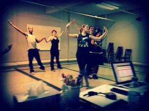 That's me, Molly, front and center along with my other fantastic cast mates working our choreography!